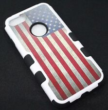 For iPhone 7 - Vintage American Flag Hard Soft Hybrid Rubber Protector Skin Case