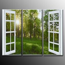 FRAMED Large Wall Art Window Grass Forest Scenery Painting on Canvas Print-3pcs