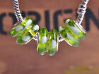 10pcs 13x10mm Lampwork Crystal Glass Big Hole Loose Beads Olive Green