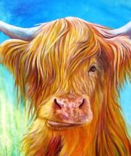 """Highland Cow Colourful Animal wall art printed on canvas 20"""" X 30"""" solid frame"""