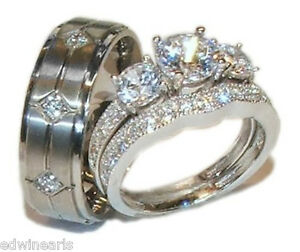 His Hers Wedding Rings 3 pc Engagement Ring Set 925 Sterling Silver & Titanium