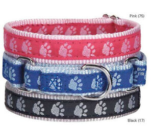 Guardian Gear Paw Print Nylon Martingale Dog Collar blue black pink  Pet Collars