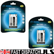 2 x DIGIMAX 9V 280mAh Ni-MH rechargeable batteries PP3