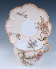 Oversized Antique Limoges Art Nouveau Dragonfly Flowers Gold Enameled Cup Saucer