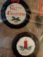 NIP Christmas Wreaths Counted Cross Stitch Kit Merry Christmas With Bells & Noel