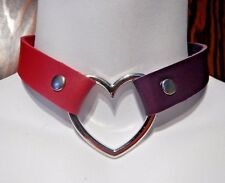 PURPLE RED HEART RING COLLAR Harley Quinn Injustice 2 II choker punk necklace 4B