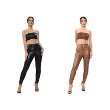 Ladies Women PVC Leather PU Ankle Pants Zip Fastening Trouser Wet Look-Size 6-14