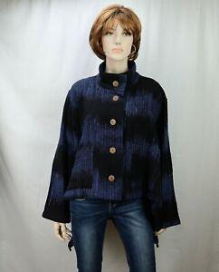 Yasuko Kurisaka Womens Oversized Jacket One Size Blue/Black Handwoven Cotton