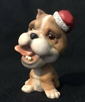 ADORABLE Christmas collectible Bobble Head Boxer Dog Puppy with a Santa Hat