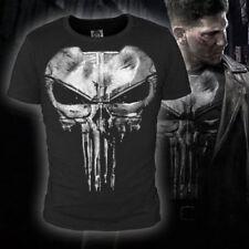 New Black 100% Cotton Dot Print Short T-Shirts Daredevil The Punisher Big Skull