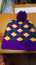 nitted Mardi Gras beanie hat, knitted hat, Mardi Gras clothing