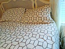 Duvet Cover & 2 Shams Queen/Full  100% Cotton Gray/Cream Threshold MINT