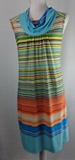 NEW DIRECTION 70's Style Multi Color Sleeveless Cowl Neck Shift Dress Size PM