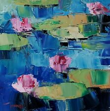 JOSE TRUJILLO Oil Painting IMPRESSIONISM WATERLILIES POND FLORAL COLLECTIBLE