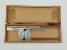 Brown Amp Sharpe 497 Bevel Protractor With Dial Swiss Machinist Tool Wood Case