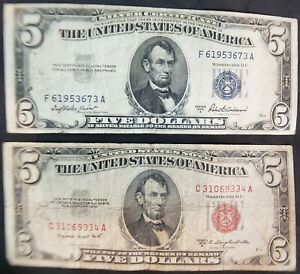 1953 B Series $5.00 Federal Reserve Notes(Blue & Red Notes - Lot of 2) - NICE!!!