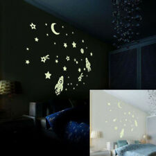 DIY Kids Luminous PVC Wall Sticker Glow In The Dark Space Stars Planet Rocket