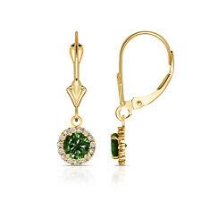 1.25CTW Round Halo Emerald Drop Dangle Leverback Earrings 14K Yellow Gold