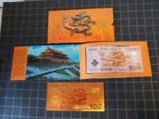 China 2000~100 YUAN~RED DRAGON COMMEMORATIVE EDITION OF THE MILLENNIUM WITH COIN