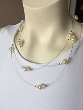 Necklace New Handmade Floating Style Wire And Bead Delicate White Pearls Beads