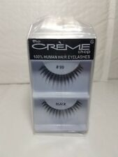 12 PAIRS CREME SHOP 100 % HUMAN HAIR EYELASHES # 99 BLACK  ORIGINAL