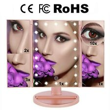 U.S.Solid Led Makeup Mirror 10X3X2X1X Lighted Rose Gold Mirror