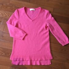 Peck & Peck 100% 2-Ply Cashmere Knit V-Neck Pink Womens 3/4 Sleeve Sweater S-M