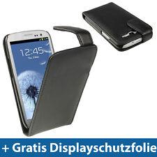 Schwarz Leder Tasche Flip für Samsung Galaxy S3 III i9300 Android Schutz Hülle