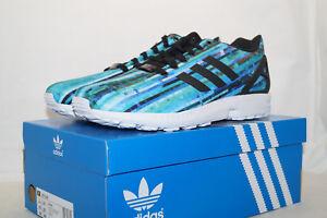 Adidas ZX FLUX TORSION Eu 45.3 UK10.5 Course Chaussures Bleu Turquoise s76505 de