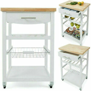 New Wooden Kitchen Utility Trolley Cart Drawer 2 Shelves Cabinet Rack White F6