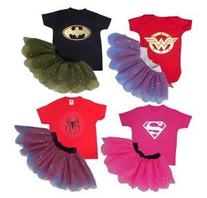Baby Girls Child Superhero Top Fancy Dress Movie Tutu Skirt Costume Book Week