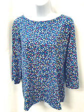 Talbots size M cotton and spandex blue multi 3/4 sleeve crew t-shirt top pretty!
