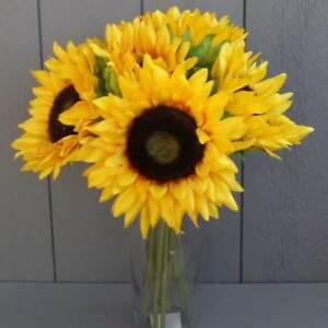 Artificial Realistic Sunflower Bunch - Vase Optional