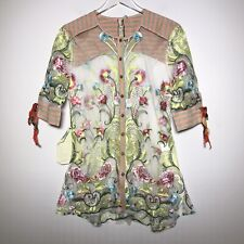 NWT Aratta Silent Journey Size S Button Down Sheer Floral Embroidered Blouse