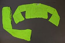 Femme Luxe Women's Mesh Flare Sleeve Knitted Set SC4 Neon Lime Size S/M NWT