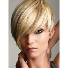 HELLOJF1597 popular design short blonde mix Wig straight bangs hair women wigs