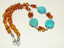 Collier turquoises Mexique  & ambre/  mexican turquoise & amber silver necklace
