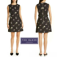 Ted Baker London Lalima Pirouette Bow Floral Print Tunic Black Dress Sz 4/ US 10