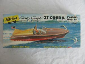 Vintage 1956 Sterling Models Chris Craft 21' Cobra Speed Boat Kit #B16-219 NOS