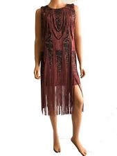 Haute Hippie Applique Short Cocktail Fringe  Dark Pink Silk Dress  Size S