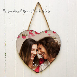 Personalised Custom Printed Heart  Rock Slate Photo wall plaque photo print Gift