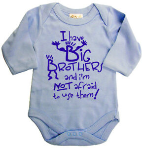 "Funny Baby Bodysuit ""I Have Big Brothers"" Long Sleeve Baby grow Vest Clothes"