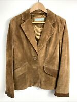 Wallis Jacket UK 14 Tan Suede Blazer Coat Leather Button Up Smart Work Casual