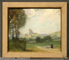 """Shepherdess in Medieval Landscape Pastel Painting """"Manner of"""" Gustave Courbet"""
