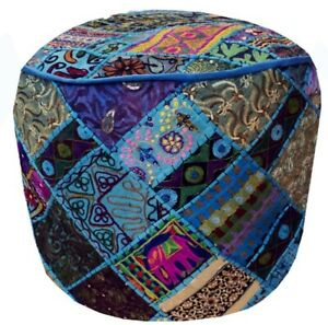 """24"""" ETHNIC IND KUTCH BANJARA FURNITURE OTTOMAN BENCH FOOTSTOOL POUF PILLOW COVER"""