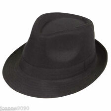 FABRIC BLACK GANGSTER HAT MOB TRILBY FANCY DRESS COSTUME AL CAPONE JACKSON NEW