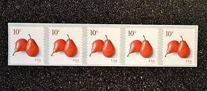 2016USA #5039 10c Pears - Coil Strip of 5  Mint  NH    pear