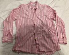 Lacoste men Dress Shirt Pink & White stripe long sleeve Cotton size 42