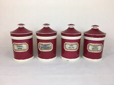 Antique Matching Chemist / Pharmacy / Apothecary Jars, Pink X 4 (York Glass Co)