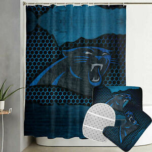Carolina Panthers Bathroom Rugs Set 4PCS Shower Curtain Toilet Lid Cover Decor